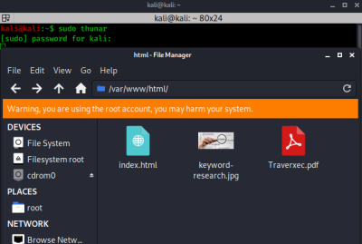 root on thunar file manager