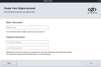 utopia account creation
