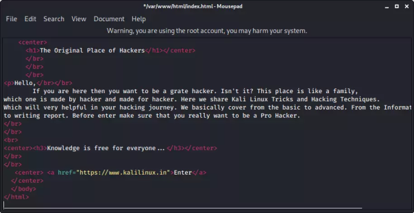 html codes in /var/ww/html/index.html