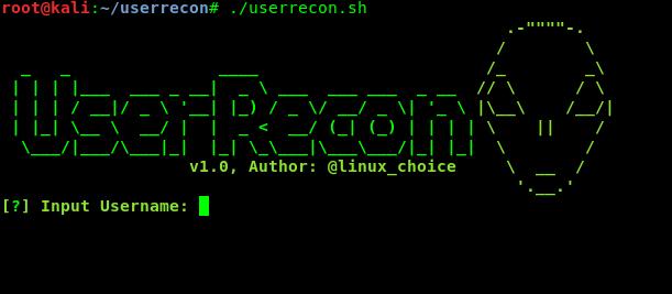 userrecon main menu