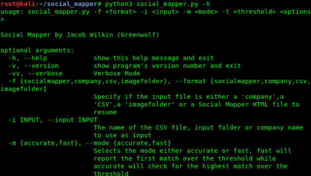 help menu of social mapper