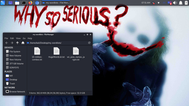 wordlist text files on our desktop